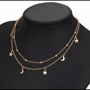 Gold Plated Double Layer Star & Moon Necklace